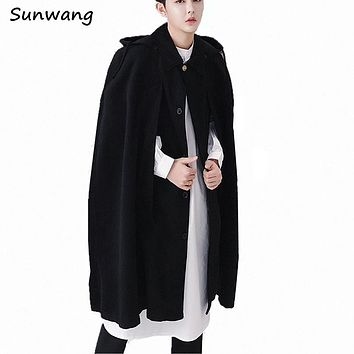 2017 Harajuku Fashion Cool Hooded Cloak Korea Windbreaker Long Wool Coat Vintage Mens Gothic Unique Designer Pea Coats Overcoat