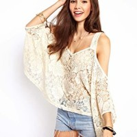 ASOS Top with Lace Cold Shoulder at asos.com