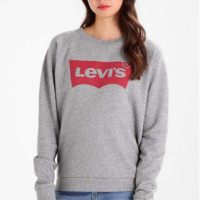"Black ""LEVI'S"" Letter Print Sweater Shirt Grey"