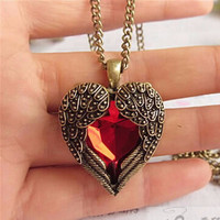 Valentine's Day Vintage Red Winged Crystal Heart 'Lovers' Pendant Necklace