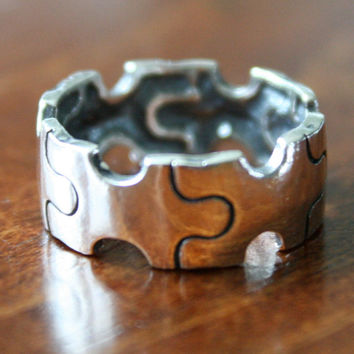 Autism Puzzle Ring - Sterling Silver- Autism Awareness Jewelry- Puzzle Ring- Autism Mother's Gift