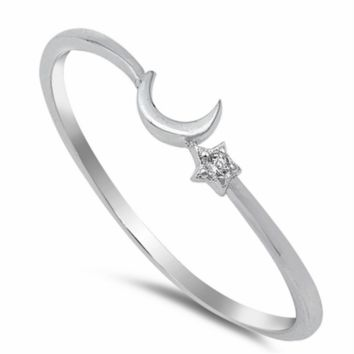 .925 Sterling Silver Moon and Stars CZ Ring Ladies and Kids Size 1-13 Midi Thumb Knuckle