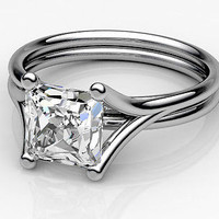 AMAZING 2.50CT WHITE PRINCESS 925 STERLING SILVER ENGAGEMENT AND WEDDING RING