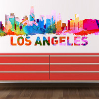 Los Angeles skyline Watercolor, decal for housewares