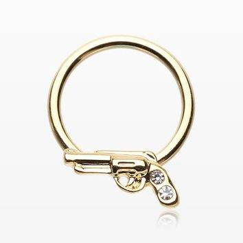 Golden Pistol Gun Sparkle Captive Bead Ring