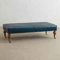Leather Bench Ottoman by Anthropologie Blue One Size Furniture