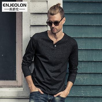 t shirts Men Long sleeve 4 color solid Cotton clothes black solid Fashion Slim Fit Clothing