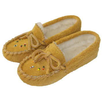 Children's Soft-Sole Moosehide Suede Moccasins with Beading