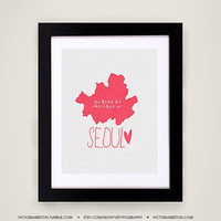 Seoul - 11x17 typography print - modern art - travel print - korean poster - hangul print - map print - kpop poster - snsd - super junior