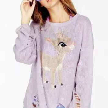 Lavender Animal Printed Long Sleeve Sweatshirt