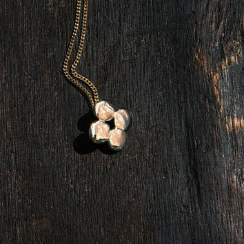 14k solid gold minimalist pendant necklace. Small handmade clover pendant on 14k solid gold chain. Simple delicate artisan jewelry.