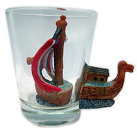 Souvenir Viking Ship 3 D Novelty Shot Glass