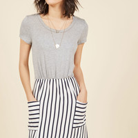 Comings and Easygoings Twofer Dress in Navy Stripes