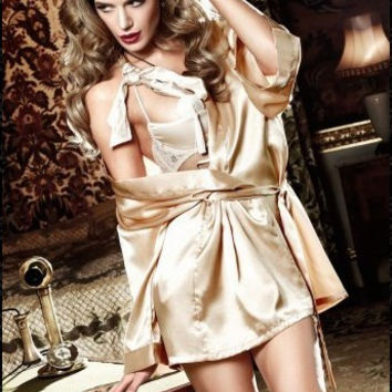 Gold Long Sleeve Satin Robe With Belt