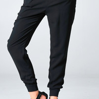 BLACK TAPERED TROUSER PANTS