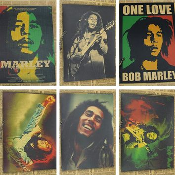 Bob Marley retro kraft paper nostalgic rock music poster (wall sticker)