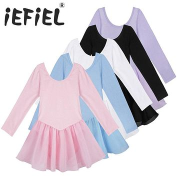 5 Colors Long Sleeve Kids Ballet Dress for Girls Dancer Leotard Kids Dance Costume Skate Dress Girls Gymnastics Workout Dress