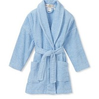 Aegean Apparel Solid Terry Loop Girl's Bathrobe, 100% Cotton, Lt. Blue