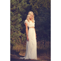 "Ivory Lace Bohemian Bridal Gown Maxi Dress Crop Top Cap Sleeve Wedding Dress- ""Caterina"""