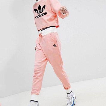 ADIDAS Clover 2018 autumn and winter new trend women's casual sports fitness two-piece pink