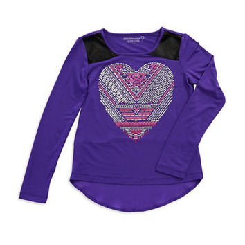 Design History Girls 7-16 Heart Peplum Top