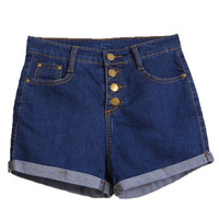 Women's Slim Comfortable Roll Up Denim Jeans Shorts Pants Blue