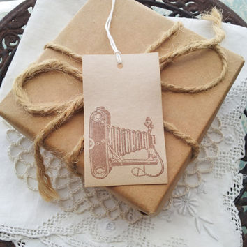 Vintage Style Camera Coffee Stained Tags Set of 10