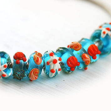 Lampwork glass beads, large hole beads, Coral REEF, pandora size - Bright aqua blue, beachy, orange - European Charms - SRA
