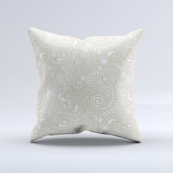Tan & White Vintage Floral Pattern Ink-Fuzed Decorative Throw Pillow