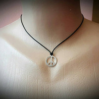 Leather Choker PEACE NECKLACE Hippie Necklace Peace Choker