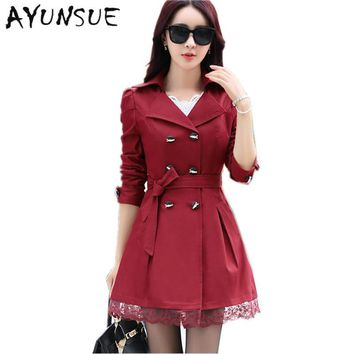 Wine Red Lace Trench Coat Para As Mulheres Long Coat Female Spring Autumn Outwear Windbreaker Plus Size Women Clothing FYY264
