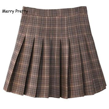 MERRY PRETTY New Autumn Korean Prairie Chic Women Girls Plaid Skirt High Waist Pleated Skater Skirts A-line School Kawaii Skirt