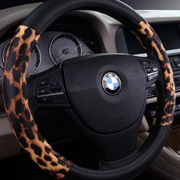Leopard Cover Steering Wheel Accessories Auto Upholstery Supplies