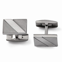 Men's Titanium Cuff Links - Engravable Personalized Gift Item