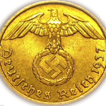 German Third Reich 1937A Gold Colored 5 Reichspfennig Coin Rare WW 2