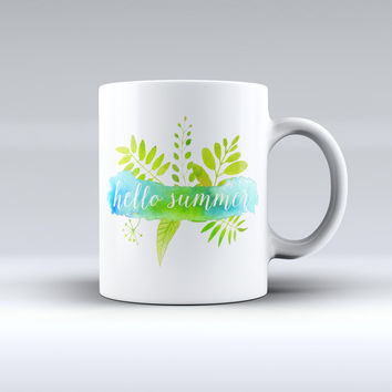 The Hello Summer Watercolor Branches ink-Fuzed Ceramic Coffee Mug
