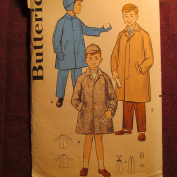 Uncut 1960's Butterick Sewing Pattern, 8767! Size 2  Toddler Boys/Kids/Child/Button Up Jacket/Collared Coats/Ear Muff Hats/Mittens/Gloves