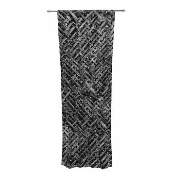 "Susan Sanders ""Charcoal Gray Bamboo Weave"" Gray Black Photography Decorative Sheer Curtain"