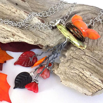 Costume Jewelry Necklace, Bird Necklace, Long Pendant Necklace, Orange Necklace, Fashion Necklace for Women, Handcrafted Jewelry