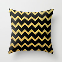 Black and Gold - Chevron Pattern Throw Pillow by Ppolecho