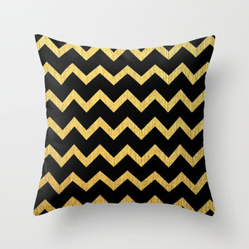 black and gold chevron pattern throw from society6 pillows. Black Bedroom Furniture Sets. Home Design Ideas