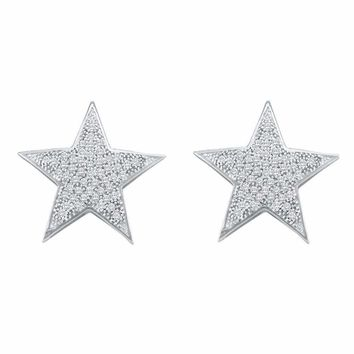 10kt White Gold Women's Round Diamond Star Cluster Stud Earrings 1-4 Cttw - FREE Shipping (US/CAN)