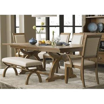 Liberty Furniture Town & Country 6 Piece Trestle Table Set in Distressed Sandstone w White