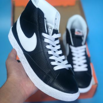 hcxx N369 Nike Blazer Mid Leather Casual Skool Skate Shoes Black White
