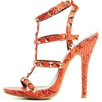 Studded Python T-Strap Heels by Charlotte Russe