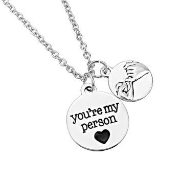New Arrival Trendy Alloy Friendship pinky promise you are my person Pendants Necklaces For Best Friend Jewelry