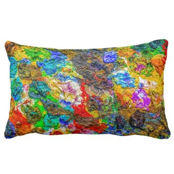 Color palette lumbar pillow