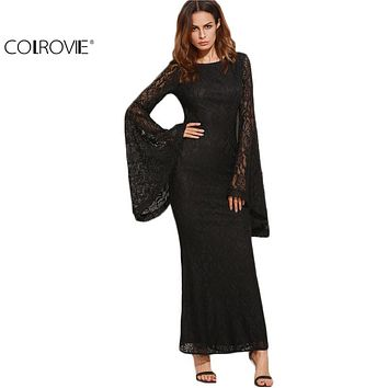 Slim Pencil Long Maxi Black Oversized Bell Sleeve Floral Lace Dress
