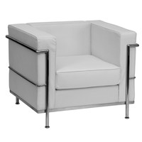 Flash Furniture ZB-BRETFORD-810-1-CHAIR-WH-GG Hercules Bretford Series Contemporary White Leather Ch