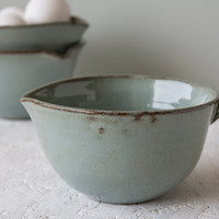 Ceramic Batter Bowl / Gravy Bowl / Small Pottery Whisking Bowl / Teal Blue Bowl